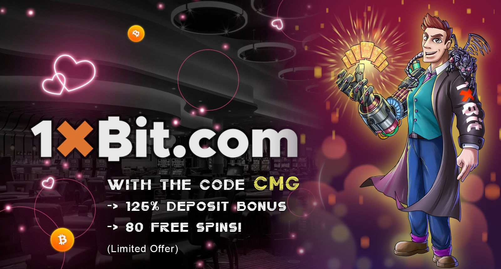 Free Spins Giveaway with 1xBit using the code CMG!
